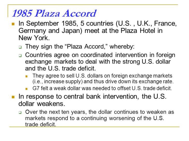 Oggi gli USA ed i suoi alleati hanno bisogno di un nuovo Plaza Accord: e se esistesse un piano tedesco-russo-cinese per affossare l'egemonia USA per via di un dollaro sopravvalutato?