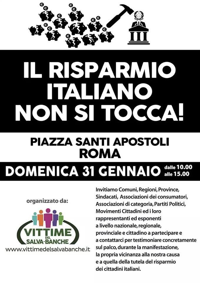 DOMENICA GRANDE MANIFESTAZIONE A ROMA PER LA TUTELA DEL RISPARMIO