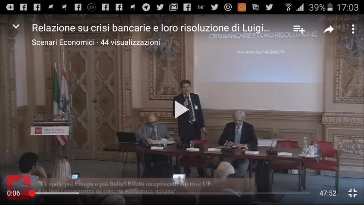 """Relazione su crisi bancarie e loro risoluzioni al convegno """"Più Europa o più Italia"""" di Firenze"""