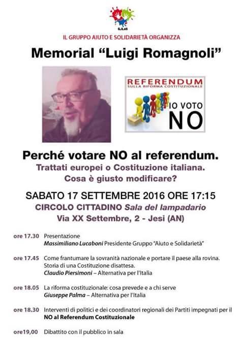 Giuseppe PALMA il 17 settembre a Jesi per parlare di RIFORMA COSTITUZIONALE #IoVotoNO