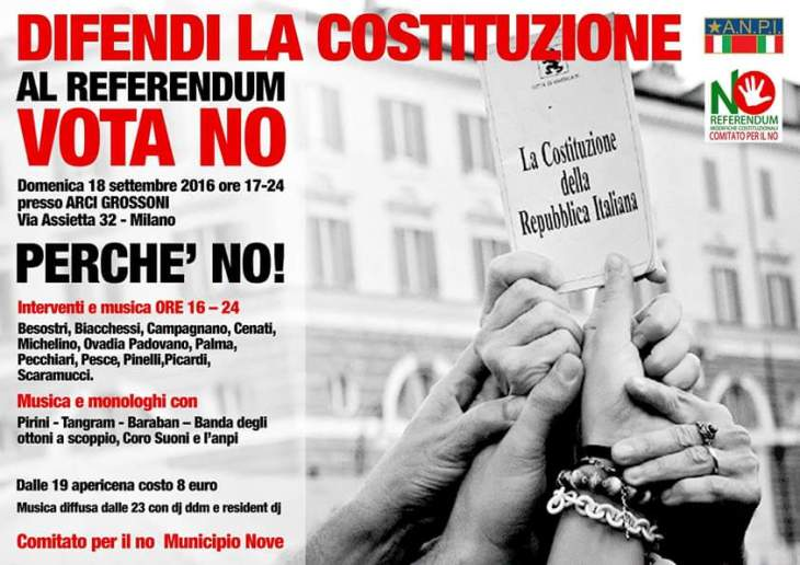 Domenica 18 settembre Giuseppe PALMA a Milano per parlare di RIFORMA COSTITUZIONALE (Comitato per il NO)