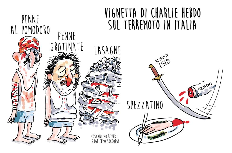 Charlie Hebdo vignetta sul terremoto in Italia