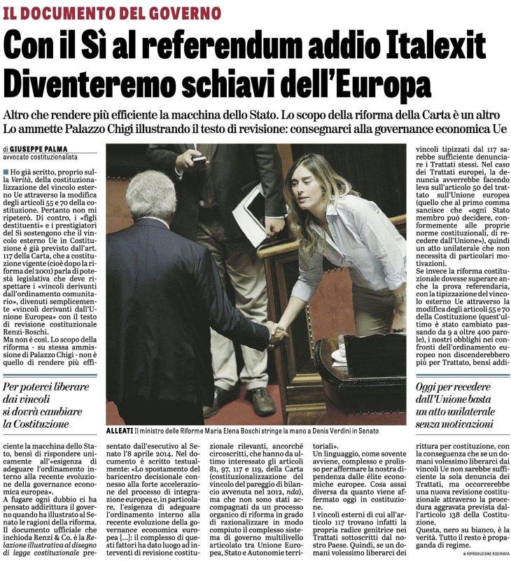 Riforma costituzionale: in prima pagina su LA VERITA' di oggi l'articolo di Giuseppe PALMA sul DOCUMENTO che INCHIODA il Governo sul VINCOLO ESTERNO UE in COSTITUZIONE