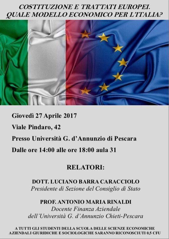 CONVEGNO COSTITUZIONE E TRATTATI EUROPEI. QUALE MODELLO ECONOMICO PER L'ITALIA?