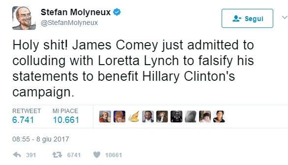 Clamoroso: Comey ammette che l'ex Ministro suo superiore Loretta Lynch gli chiese di minimizzare (downplay) l'inchiesta delle email di Hillary
