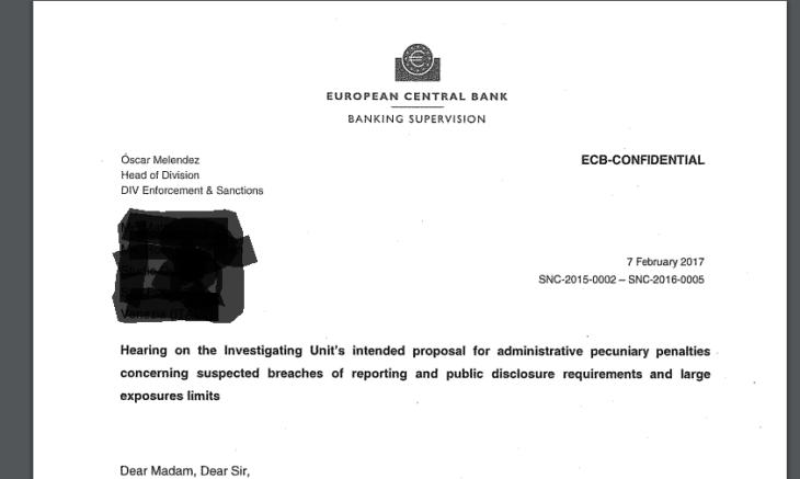ESCLUSIVO: LA LETTERA CONFIDENZIALE DELLA BCE IN SI COMMINANO LE SANZIONI A BPVI. NOMI E COGNOMI