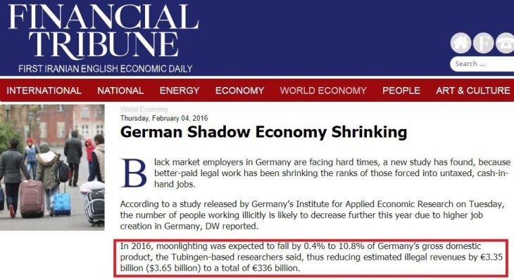 Clamoroso: l'evasione fiscale in Germania nel 2017 è di 336 miliardi di Euro! Circa il 50% maggiore di quella Italiana (valutata dall'ISTAT nel 2015)