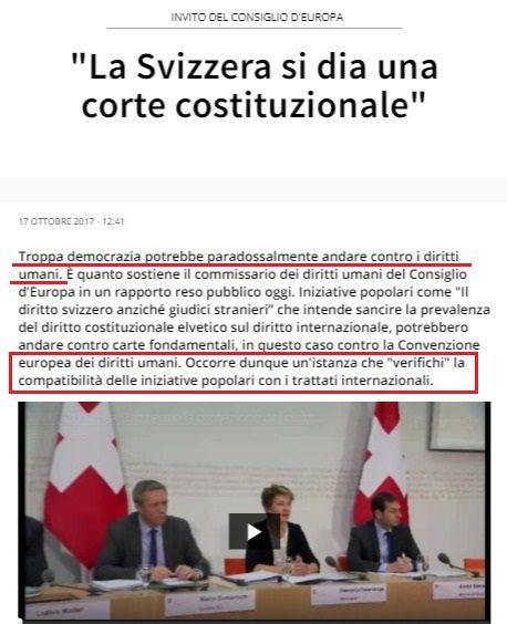 """Il Consiglio d'Europa dell'assurdo va contro la Svizzera: """"Troppa democrazia potrebbe paradossalmente andare contro i diritti umani"""""""