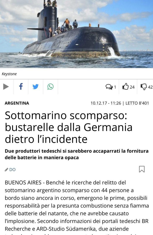 Secondo la stampa svizzera il sottomarino argentino è affondato per colpa di batterie scadenti installate da aziende tedesche con il pagamento di tangenti!