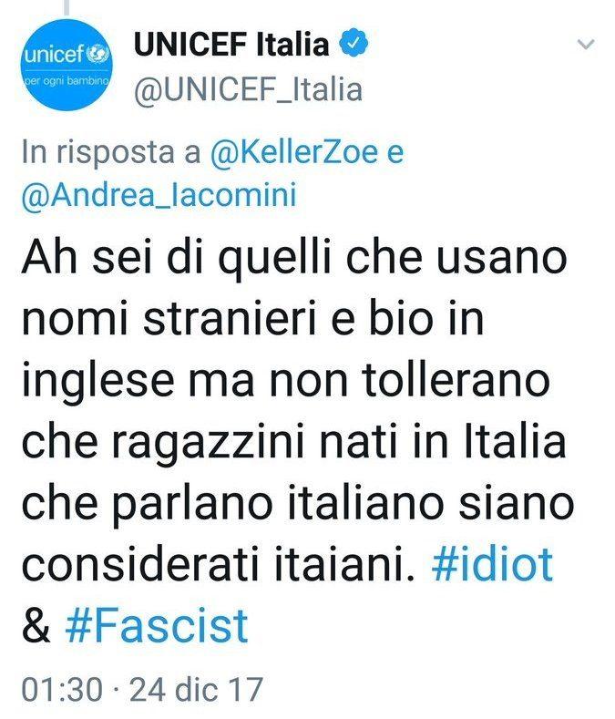 UNICEF, FINANZIATA DA SOROS, SI PERMETTE DI DARE DEGLI IDIOTI E DEI FASCISTI AGLI ITALIANI CHE NON SONO D'ACCORDO CON LEI.