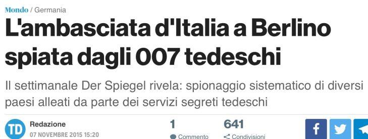 La Germania minaccia la fine della collaborazione con gli 007 italiani con Conte: peccato che nessuno vi ricordi che nel 2015 gli stessi 007 tedeschi spiavano l'ambasciata italiana a Berlino!