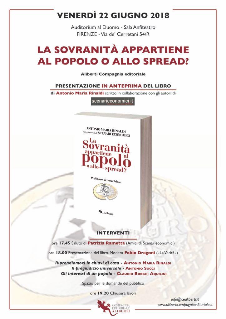 ESCE IL LIBRO DI SCENARIECONOMICI. PRESENTAZIONI A FIRENZE, MILANO, ROMA E NAPOLI.