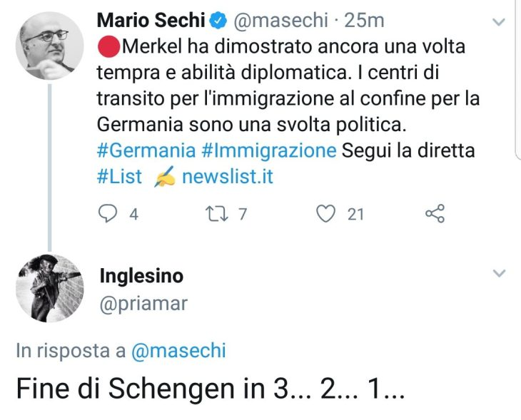 ACCORDO MERKEL-SEEHOFER: DI FATTO FINISCE SCHENGEN