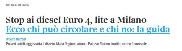 """Blocco delle auto Euro4 a Milano. Arrivano le prime rimostranze, """"è inutile"""". Si, ma ricordate che lo scopo (dell'EU) è solo farvi cambiare auto, farvi spendere…"""