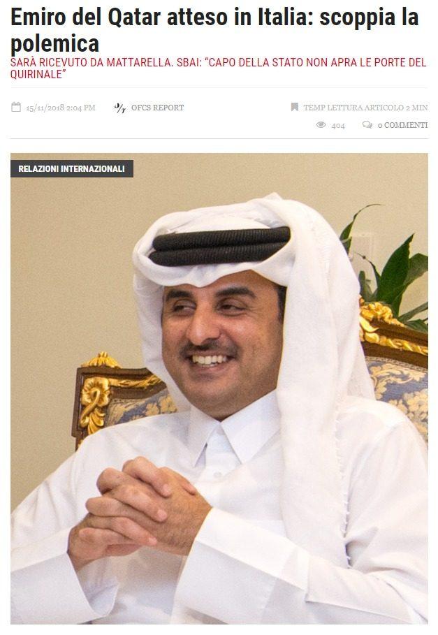 Nonostante gli inviti di islamici moderati (ex parlamentari italiani), Mattarella incontra l'emiro del Qatar, in odore di finanziamento ai terroristi della Fratellanza Musulmana – ofcs.report