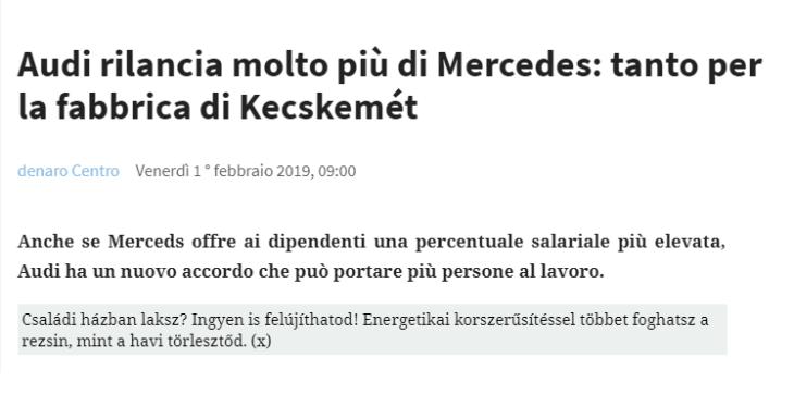 SINDACATI UNGHERESI +18% PAGA. SINDACATI ITALIANI: LOTTA AL FASCISMO