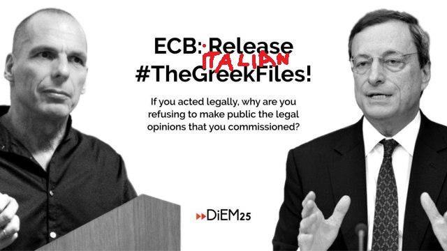 Italia come Grecia: la BCE può tenere segrete decisioni fondamentali per nazioni intere