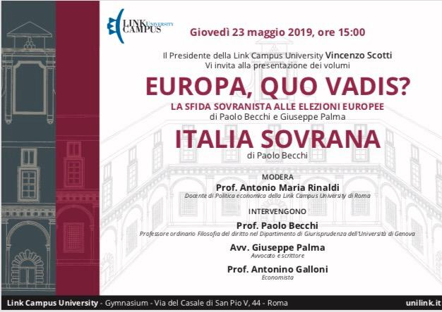 "Rinaldi presenta Paolo Becchi e Giuseppe Palma ed il loro ultimo libro ""Europa Quo Vadis"""