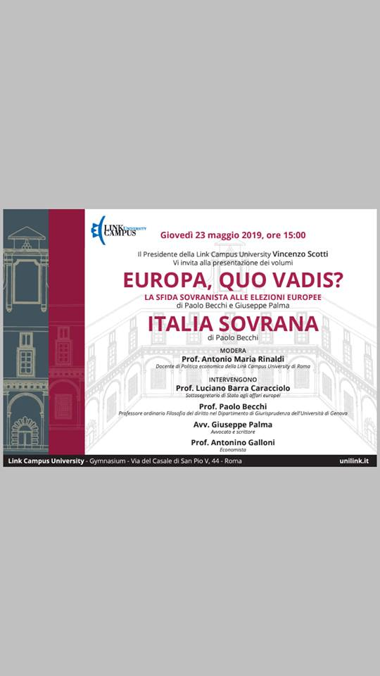 Giovedì 23 maggio P. Becchi e G. Palma alla Link Campus University a Roma per la presentazione dei loro libri sull'Europa e sulla sovranità costituzionale