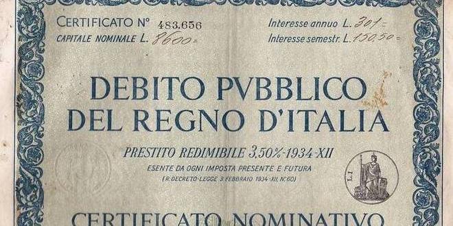 antico titolo di stato italiano