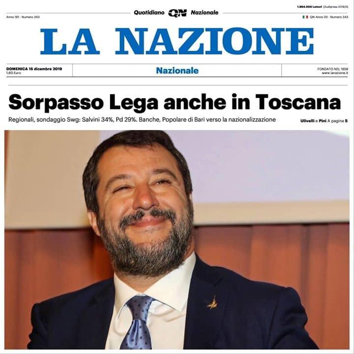 SALVINI: LEGA PRIMA ANCHE IN TOSCANA. SIAMO PRONTI ANCHE AL GOVERNO PER SALVARE L'ITALIA DA CONTE