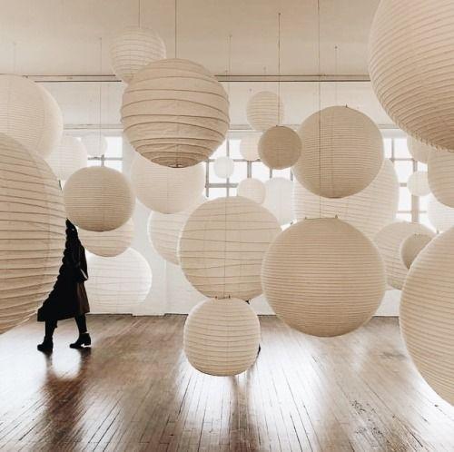 Noguchi light sculptures