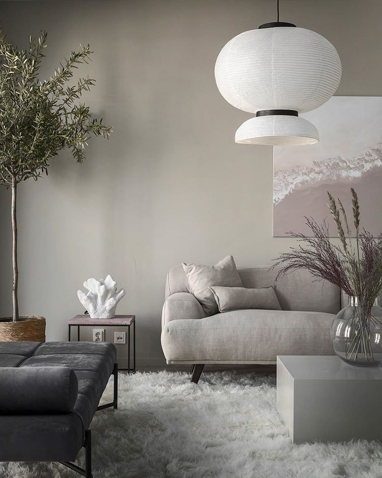 paper lamp shade in the living room, light fixtures for home staging