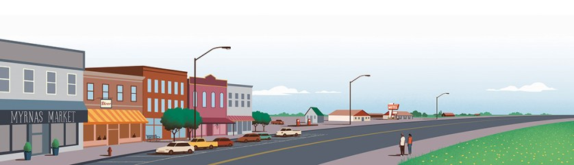 Illustration of two people looking at a Main Street in a rural area.