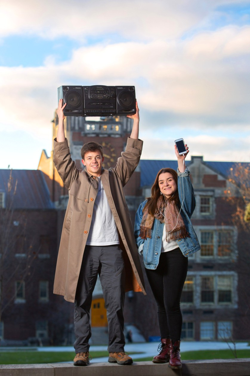 James Canning '20 and Isabel Keane' 19 pay homage to the Say Anything serenade scene