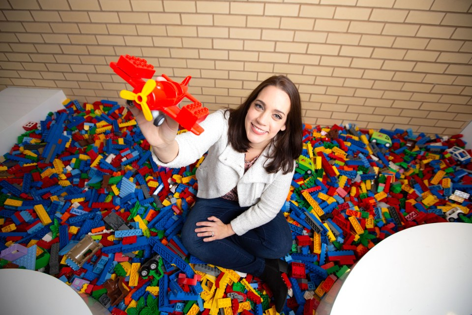 Amanda Madore in a Lego pit