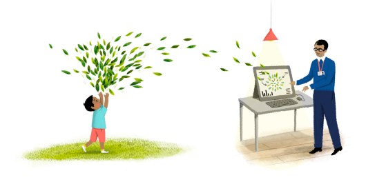 Illustration of a small boy throwing leaves and they go into the computer of an adult male, who is being creative in his career