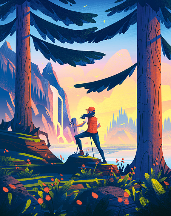 illustration of a woman walking in the woods near a lake in the pacific northwest