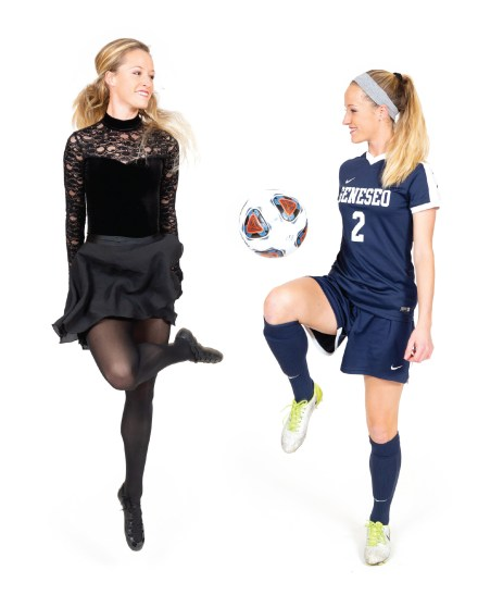Caitie Cunningham '19 plays soccer and also Irish step dancers in two photos that face each other