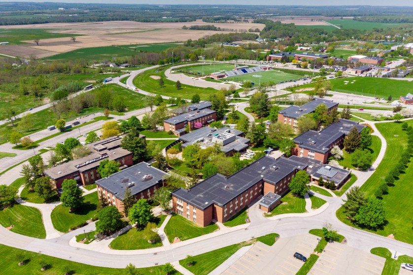 Bird's eye view of campus