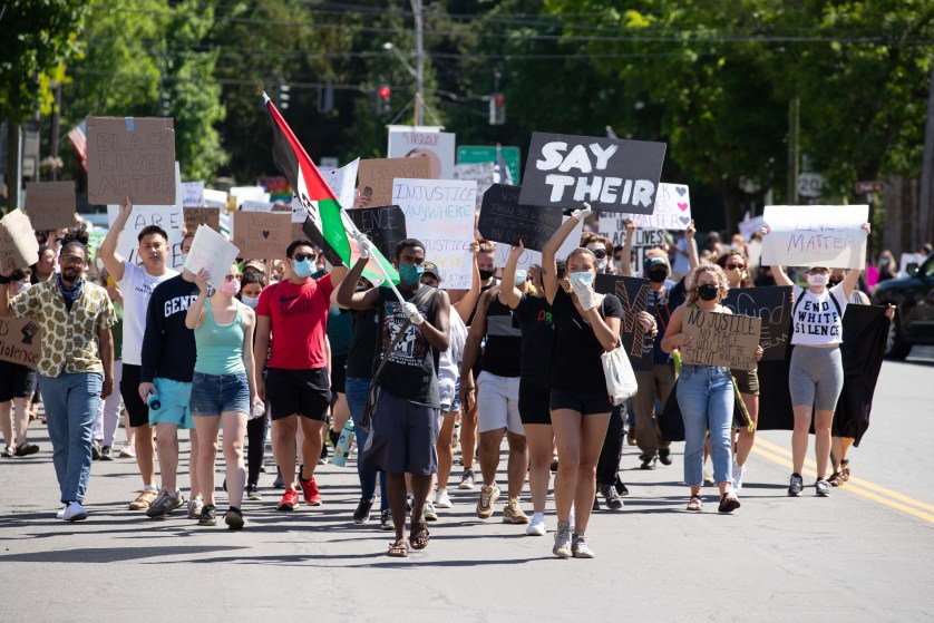 Students lead a march for BLM.