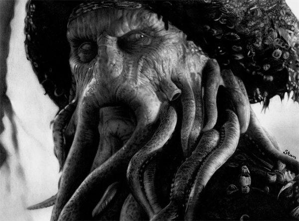 Pencil Drawings of the Caribbean Davy Jones Pirates
