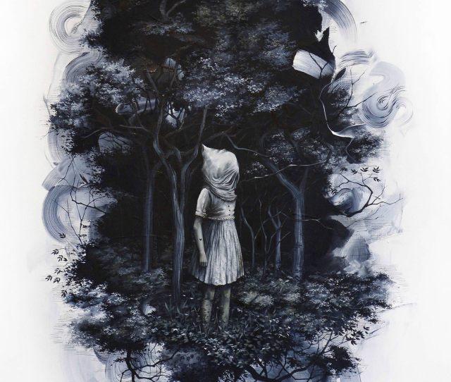 Bag Over Head Girl In Dark Forest Bunnies Dark Art