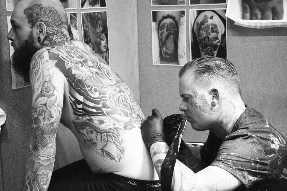 back tattoo by phatt german, tattoo events