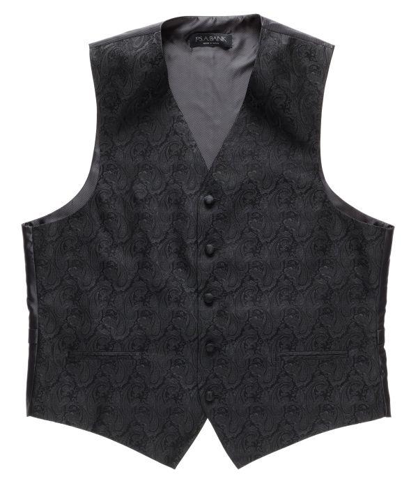Black Tonal Paisley Mens Victorian Style Vest