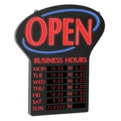 Sams Club Office Chairs Modern Stackable Newon Led Open Sign With Digital Business Hours, 20.4