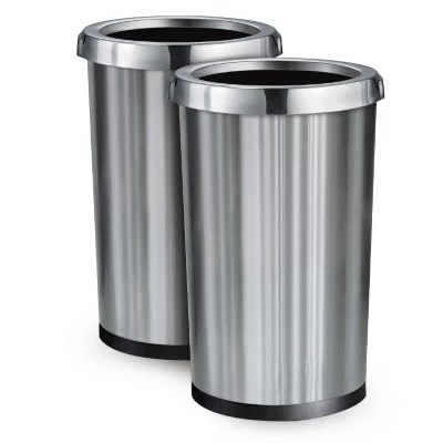 2 Pack Stainless Steel Commercial Home Office Trash Bin Garbage - 13 Gal