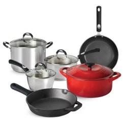 Kitchen Pan Set Brushed Nickel Hardware Cookware Sam S Club Tramontina 10 Piece Essentials Multi Material