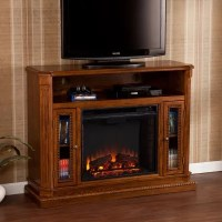 Candard Media Console Fireplace - Rich Brown Oak - Sam's Club