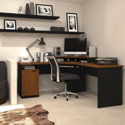 sams club office chairs coral chair sashes bestar hampton homepro 69000 corner workstation, tuscany brown/black - sam's