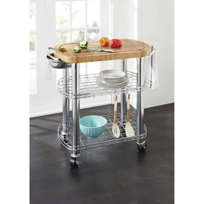 wire kitchen cart island granite bamboo top chrome sam s club member mark prep table grill station