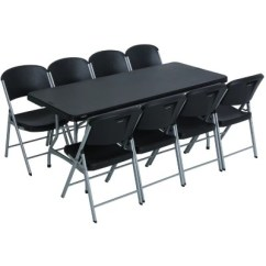Black Table And Chairs Grey Chair Slipcover Folding Tables Sam S Club Lifetime Combo 6 Commercial Grade 8