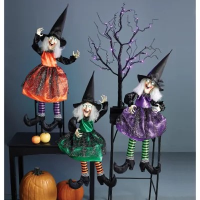 folding rocking chairs at sam s metal outdoor shelf-sitting animated witch, set of 3 - sam's club