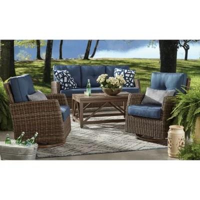member s mark agio fremont 4 piece patio deep seating set with sunbrella fabric indigo