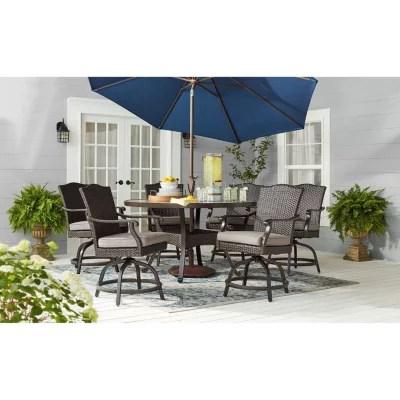 member s mark agio heritage 7 piece balcony height patio dining set with sunbrella fabric dove gray