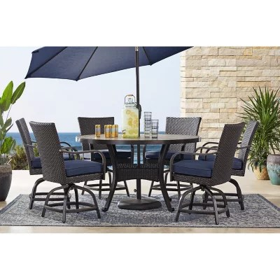 member s mark agio heritage 7 piece balcony height patio dining set with sunbrella fabric indigo